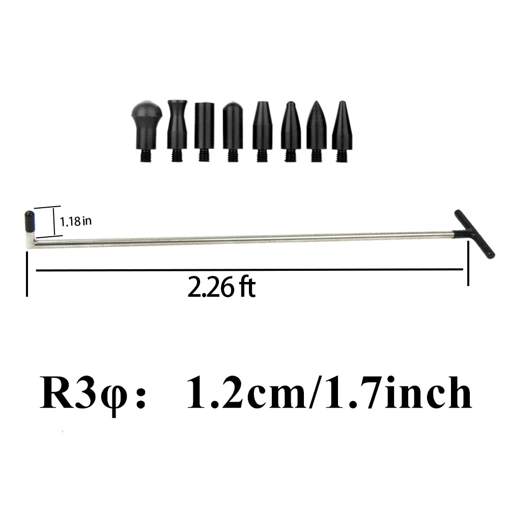 FURUIX PDR Tools Single Piece PDR Puller Rod Hook Repair Car Dent & Hail Damage Tool Set With 8 Heads Household Hand Tool R3