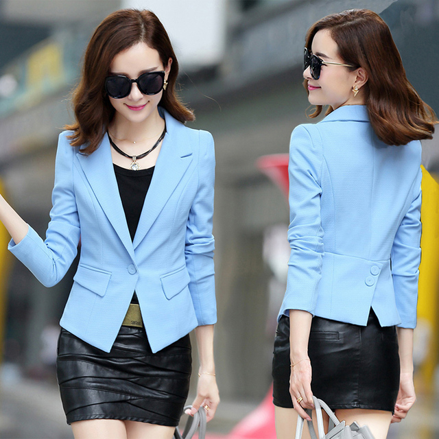 7852f361260d6 Black Friday Plus Size Fashion Street Jackets Women 2017 Spring Slim Casaco  Blazer Casual Coats Candy Color Blazer Feminino F50-in Blazers from ...