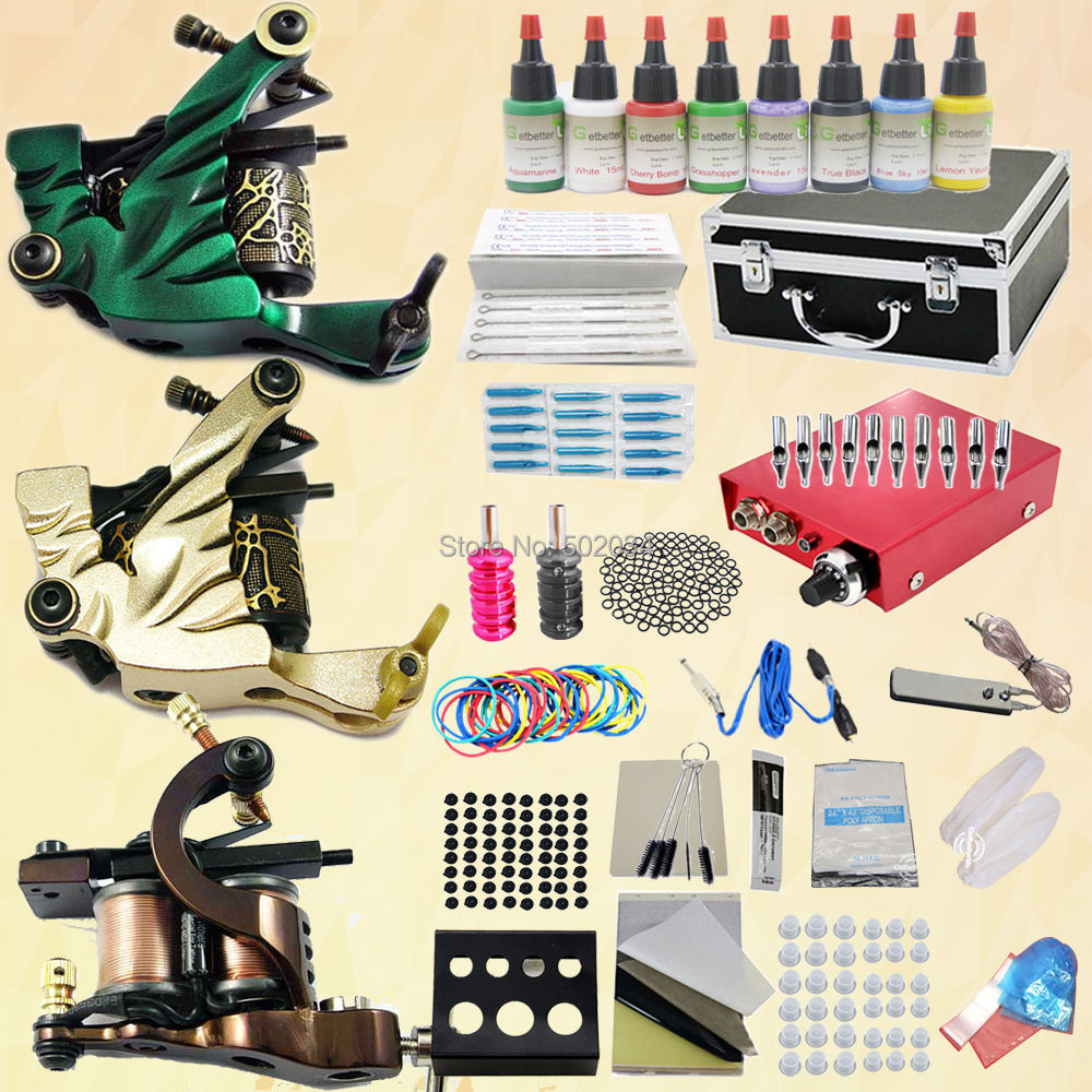 ФОТО FreeShip from USA warehouse Top Professional Complete Tattoo Kit 3 Machine Guns 8 Ink Color Power needles tips Supply Set  K100