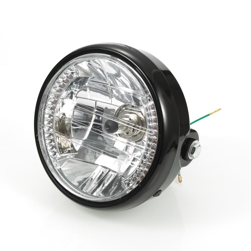 7 Black Plastic Motorcycle Headlight H4 12v 35w Halogen Bulb Soft Start For 12 Volt Lamps Bike Chopper Bobber Front Light Lamp Honda