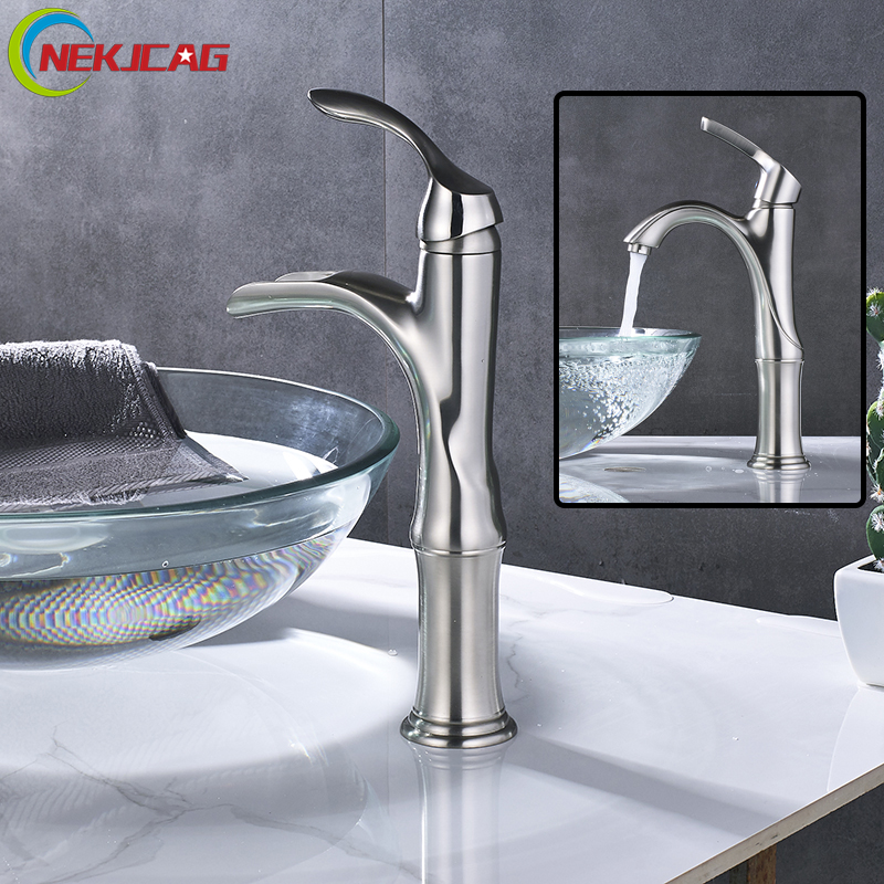 Basin Faucet Brushed Nickel Bathroom Mixer Tap Deck Mounted Basin Sink Mixer Faucet stainless steel deck mounted single cold nickel brushed sink faucet basin faucet tap mixer