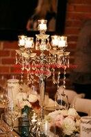 10pcs top grade 5 arms acrylic crystal wedding centerpiece with candle holder/wedding road lead/wedding column/pillars/68cm tall