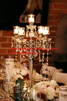 10pcs top grade 5 arms acrylic crystal wedding centerpiece with candle holder/wedding road lead/wedding column/pillars/68cm tall