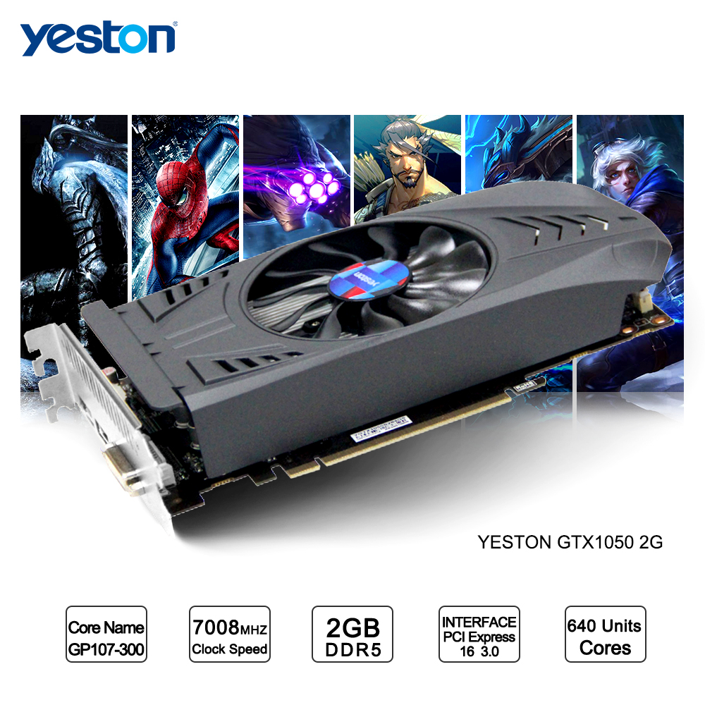 Yeston GeForce GTX 1050 GPU 2GB GDDR5 128 Bit Gaming Desktop Computer PC Video Graphics Cards Support