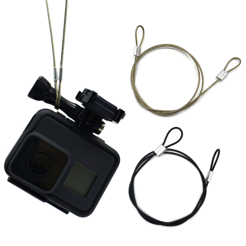 OOTDTY Safety Strap Stainless Steel Tether Lanyard Wrist Hand 60cm For GoPro Camera New