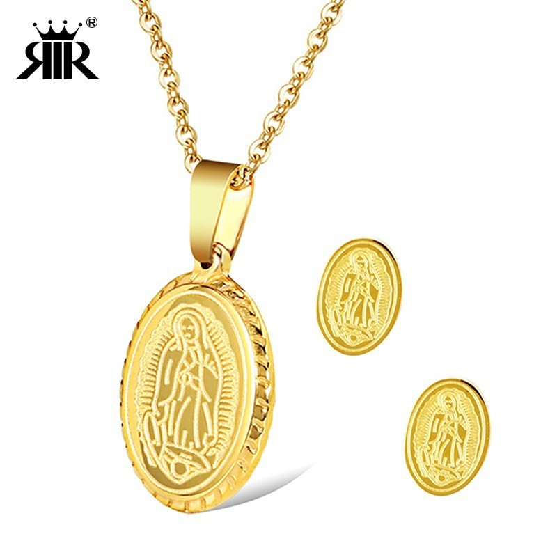 RIR Virgin Mary Kalung Emas Set Agama Emas Putaran Kalung Memberkati Mama Mary Dengan Anting Di Stainless Steel