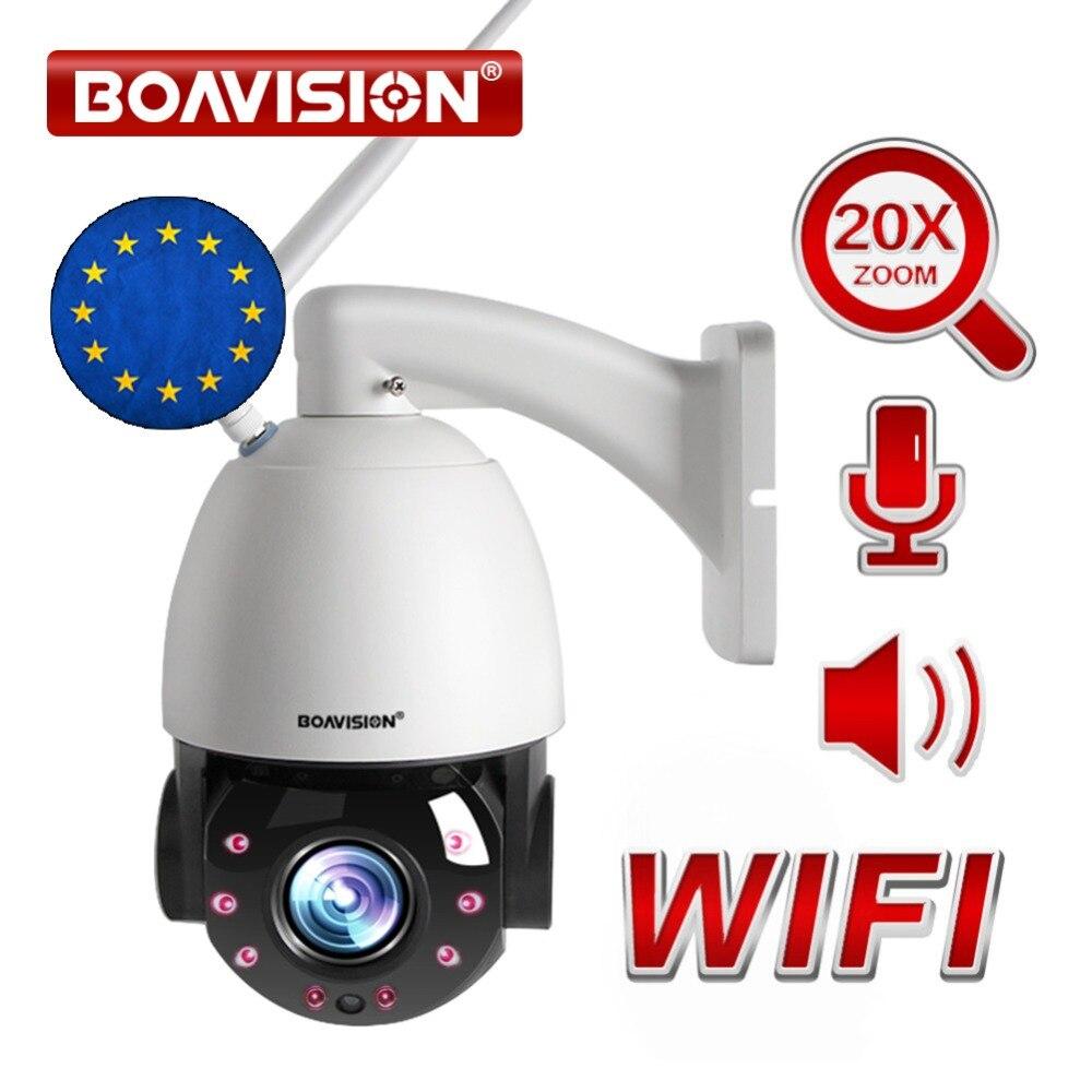 20X Zoom Óptico 1080P Dome PTZ Câmera IP Sem Fio WI-FI 80m 25FPS CCTV Câmera de Segurança Ao Ar Livre IR À Prova D' Água conversa áudio Speaker