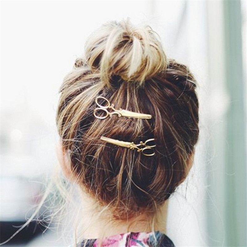 Hot Sale Fashion 1 Pc Women Chic Golden Silvery Scissors Shape Hair Clip Hair Pin Headwear