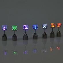 Светодиодный светильник, 1 пара, горячие рождественские серьги-гвоздики, мигающие Серьги Из Нержавеющей Стали, серьги-гвоздики для танцевальной вечеринки, подарок