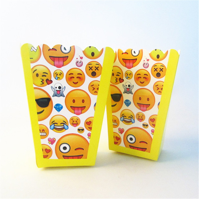 6pcs Lot Emoji Party Supplies Popcorn Box Gift Favor Kids Birthday EventParty