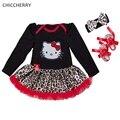 Hello kitty ropa de bebé niña estampado de leopardo trajes tutu dress diadema zapatos del pesebre infantil de cumpleaños para niñas vetement bebe fille