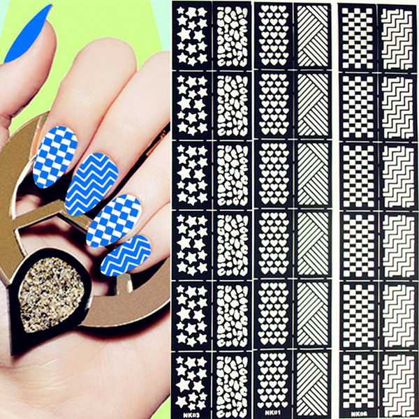 12Tips Sheet Heart Star Gep Patterns Nail Vinyls Easy Use Art Manicure Stencil