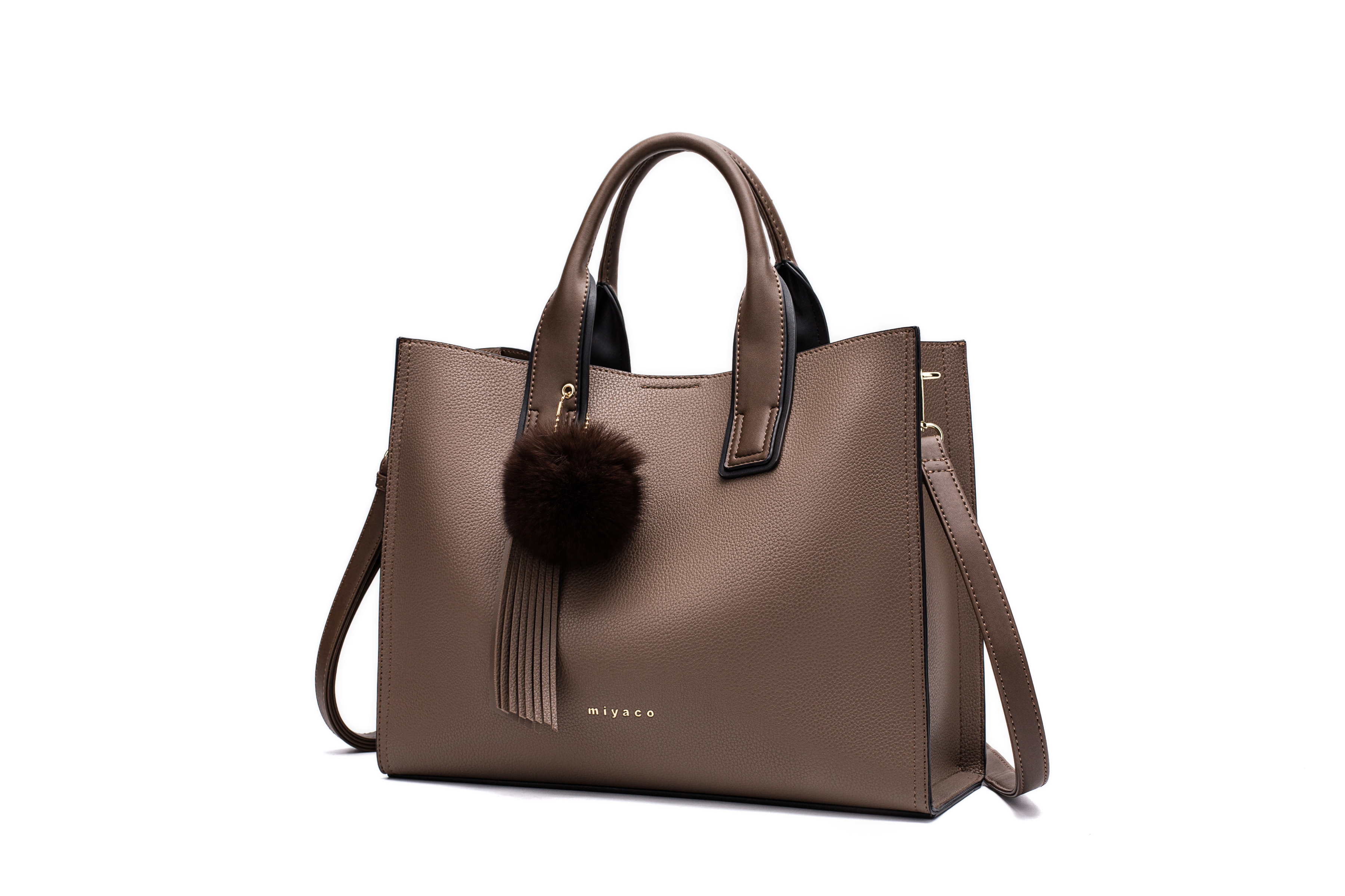 c8f4ba259a Details about Miyaco Women Leather Handbags Casual Brown Tote bags  Crossbody Bag TOP-handle