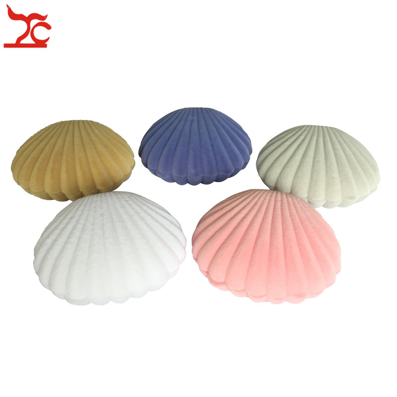 Fashion Shell Shape Velvet Engagement Wedding Party Earring Case Cute Earrings Necklace Pendant Jewelry Display Storage Gift Box