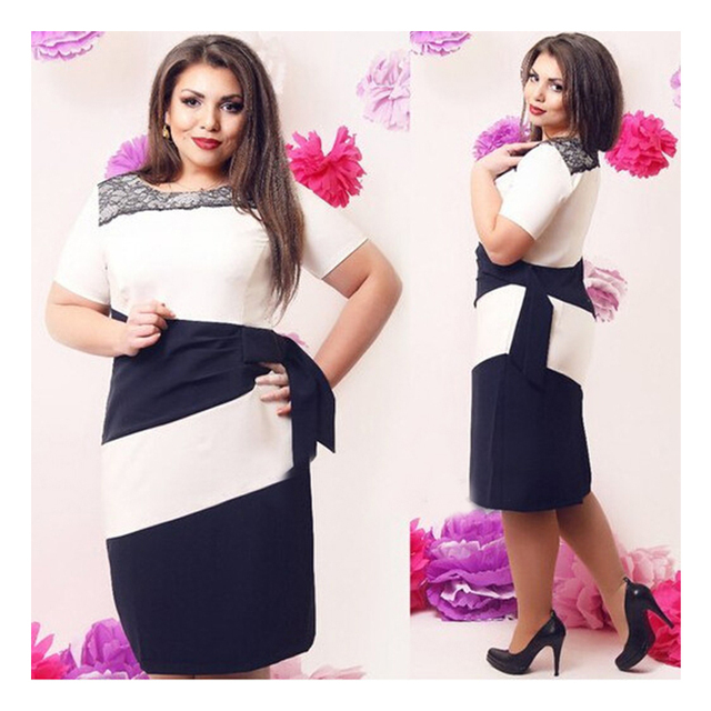997fa7d1715 2016 Elegant Summer Women Dress Short Sleeve Lace Patchwork Midi Dress Big  Size Office Dress Work Wear Large Size 6XL Plus Size