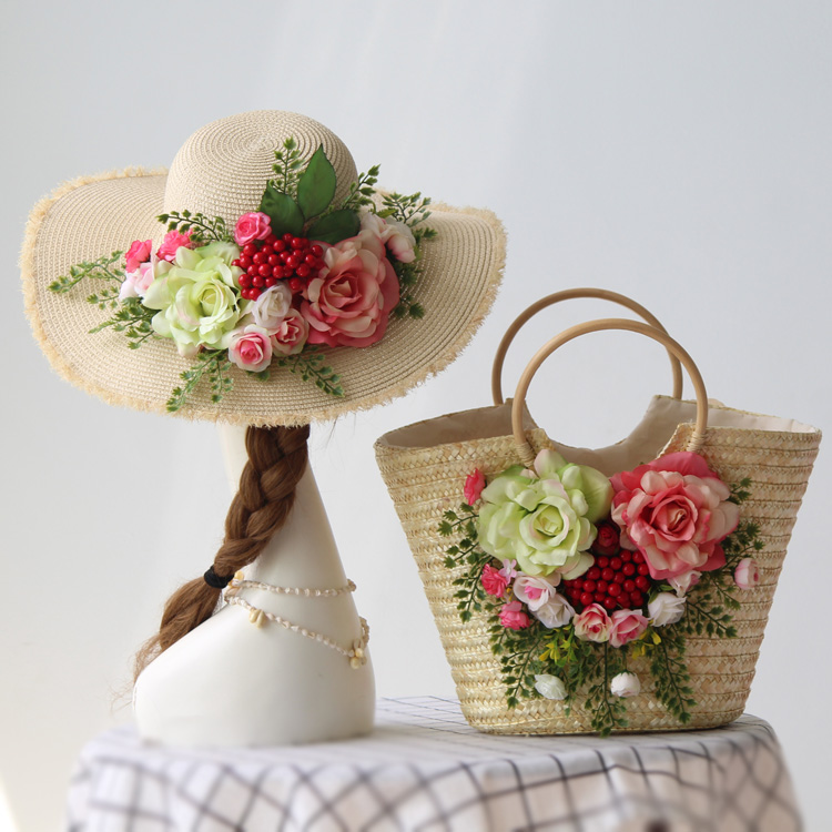 handbags travel beach bag straw bags flowers bag set original design red berry fresh straw bag hat seaside beach vacation photo straw fedora hat