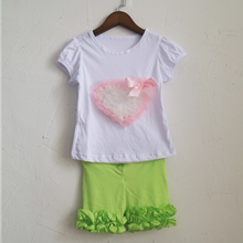 lime green child short capris and girls o-neck novelty puff sleeve tees pattern t-shirt set dress cotton and spandex outfits