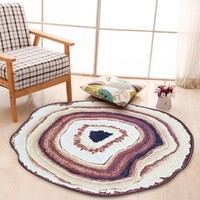 2 Sizes Creative Round Rug Large Size Round Carpet Rug for Bedroom Chair Floor Mat Antique Wood Tree Growth Ring Round Carpet