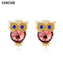 Серьги подвески chicvie с кристаллами в виде совы для женщин