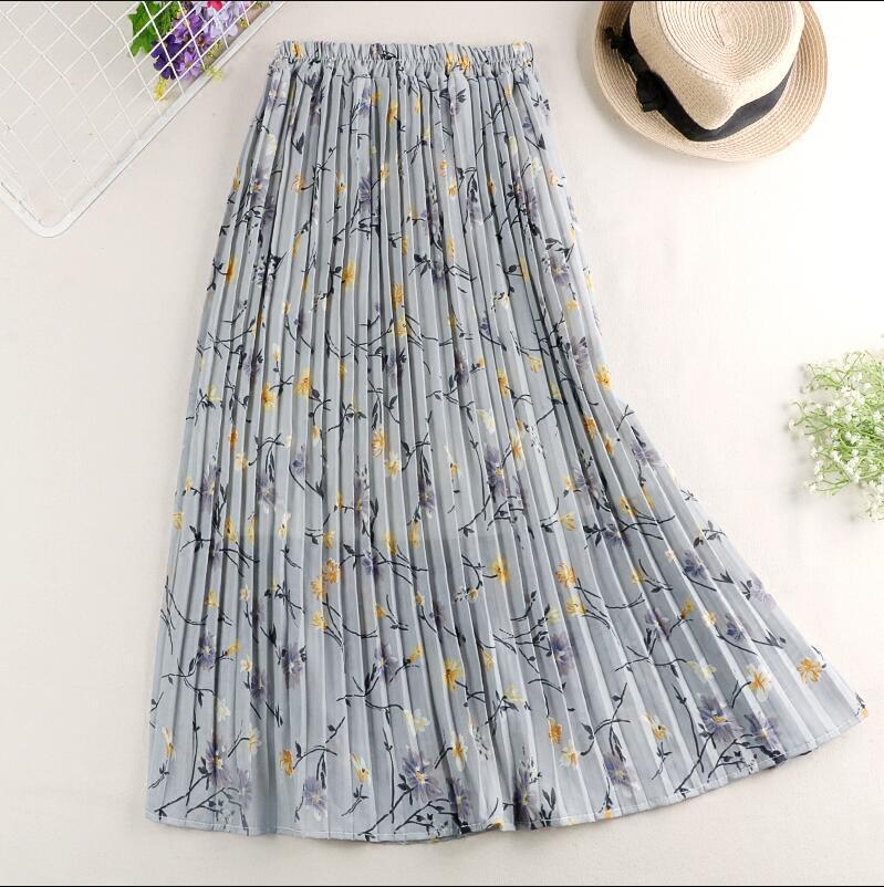 Women Skirts Elastic High Waist Pleated Skirt Elegant Flower Print Midi Skirt Faldas Mujer Moda 2019 Summer Chiffon Skirts