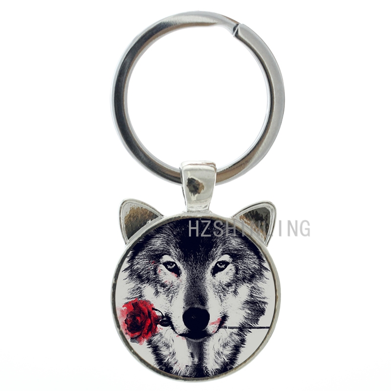 Vintage black wolf with flower rose keychain Snarl Snow Wolf keyring dire  wild animal charms key chain ring holder jewelry CN782 26c2d3ac62