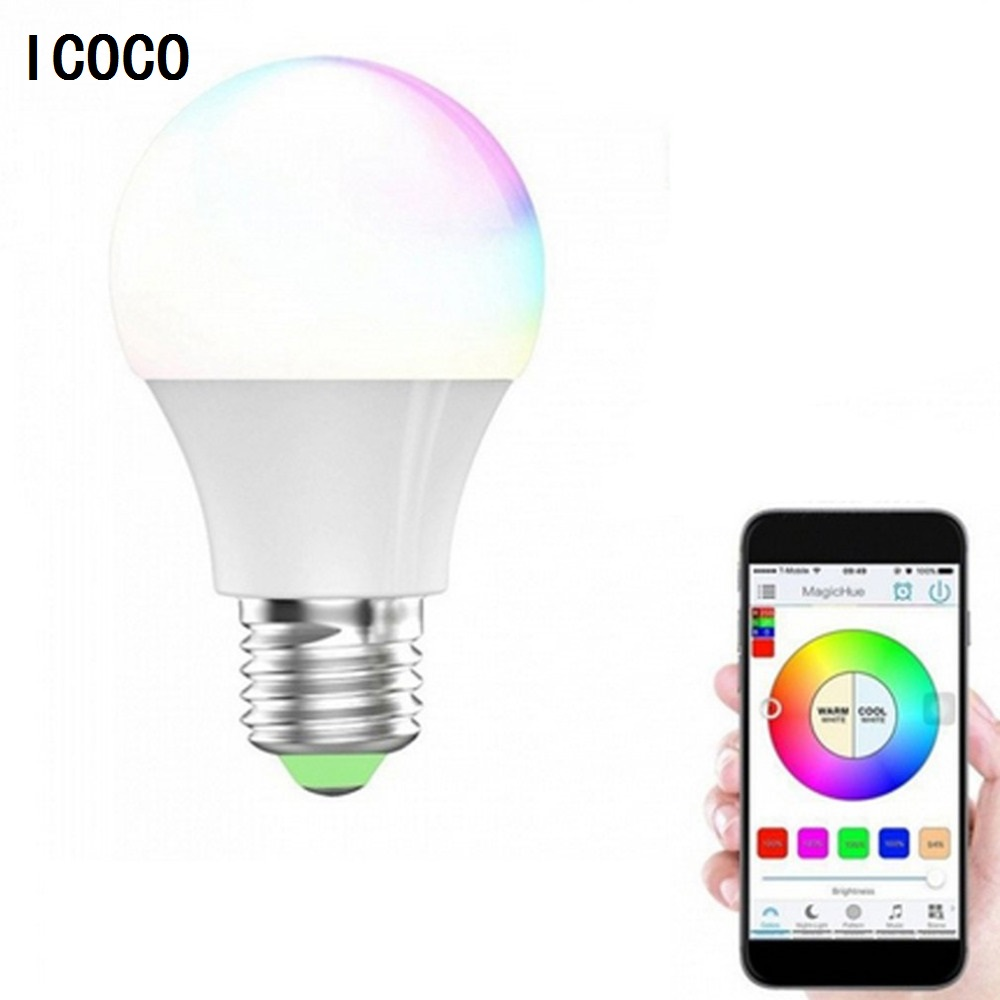 ICOCO RGBW LED Light Bulb Wifi Remote Control Smart Lighting Lamp Color Change Dimmable LED Bulb for Android IOS Phone icoco e27 smart bluetooth led light multicolor dimmer bulb lamp for ios for android system remote control anti interference hot