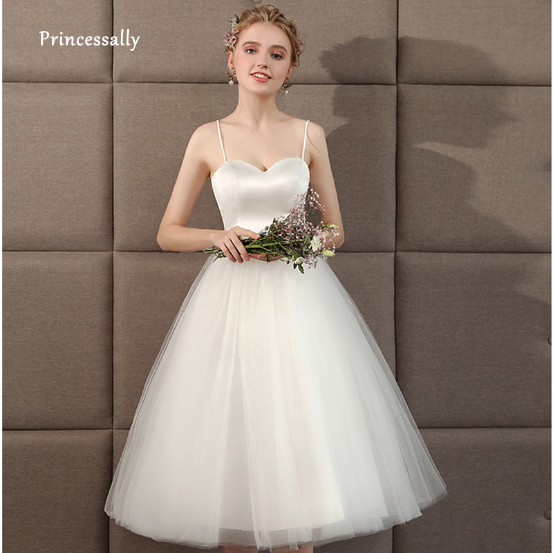 New Spaghetti Strap Beach Wedding Dresses Short Cheap Vestido Noiva Praia Simple Ivory Tulle Casamento Sashes Fall Bridal Gown
