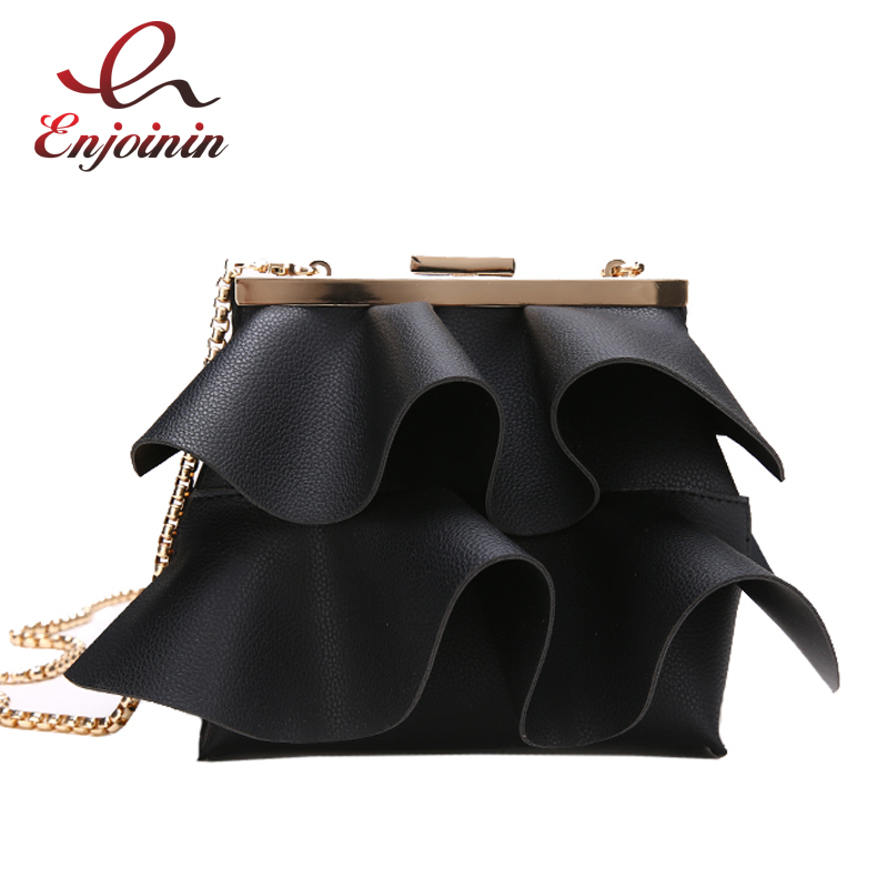 Fashion New Design Pu Leather Lotus Wave Female Chain Purse Shoulder Bag Handbag Ladies Crossbody Messenger Bag Women's Flap new punk fashion metal tassel pu leather folding envelope bag clutch bag ladies shoulder bag purse crossbody messenger bag