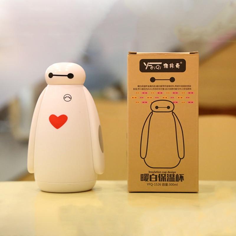 300ML Big Hero 6 Baymax Robot Stainless Steel Vacuum Cup Portable Kids Children Cartoon Water Bottle