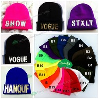 Hot Custom Caps Wholesale Arylic 3d Letters Stud Rivet Hip Hop Hat Beanies Knitted Caps Knitted