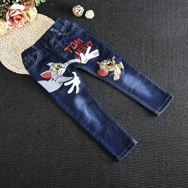 Hot Sale Children's Denim Jeans  Autumn winter Kids Trousers Cartoon Print casual Denim Pants For Boy and Girl 2-7 years H6816