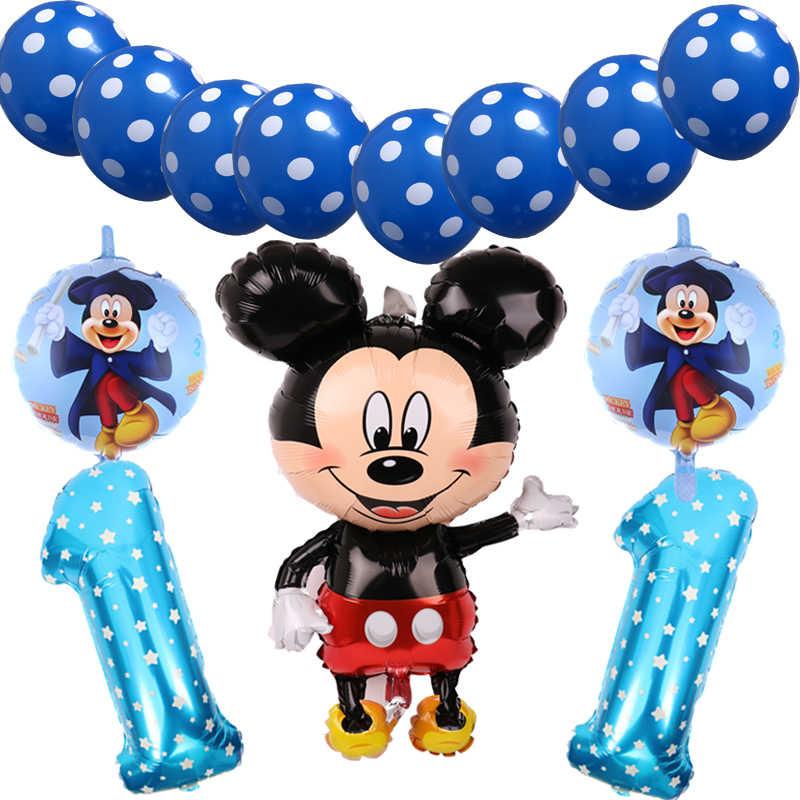 13 sztuk/zestaw Mickey minnie Mouse balon foliowy dekoracje na imprezę urodzinową dzieci globos numer 1 2 3 rok baby shower helium ballon