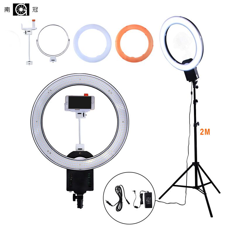 NanGuang CN-R640 Photography/Photo/Studio/phone 19 640 LED 5600K Dimmable Camera Ring Video Light Lamp & Tripod Stand/Mirror