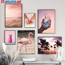 Pink Sea Flamingo Pineapple Palm Tree Wall Art Canvas Painting Nordic Posters And Prints Pictures For Living Room Decor