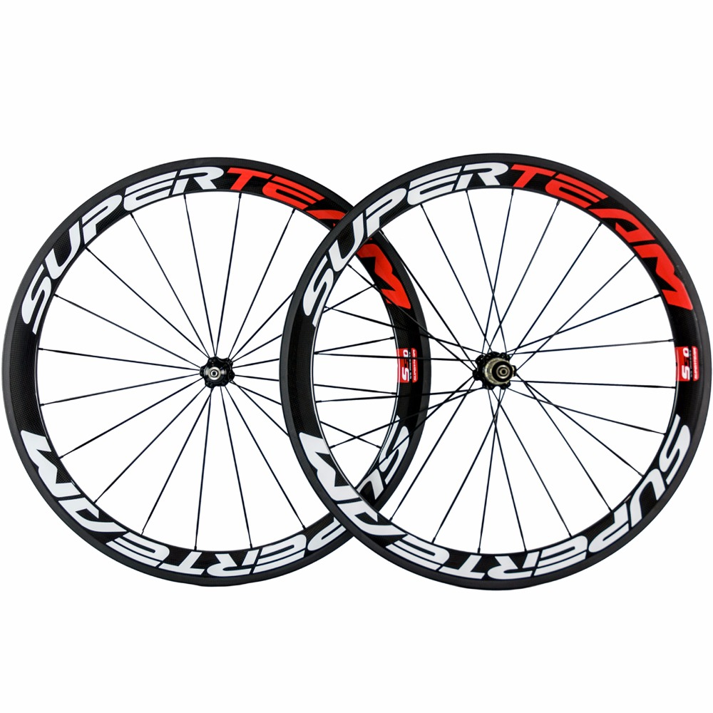 SUPERTEAM 50mm Clincher Carbon Wheels White/Red Full Carbon Fibre 23mm Width 271 Hub Road Bike/Bicycle Carbon Wheelset Clincher