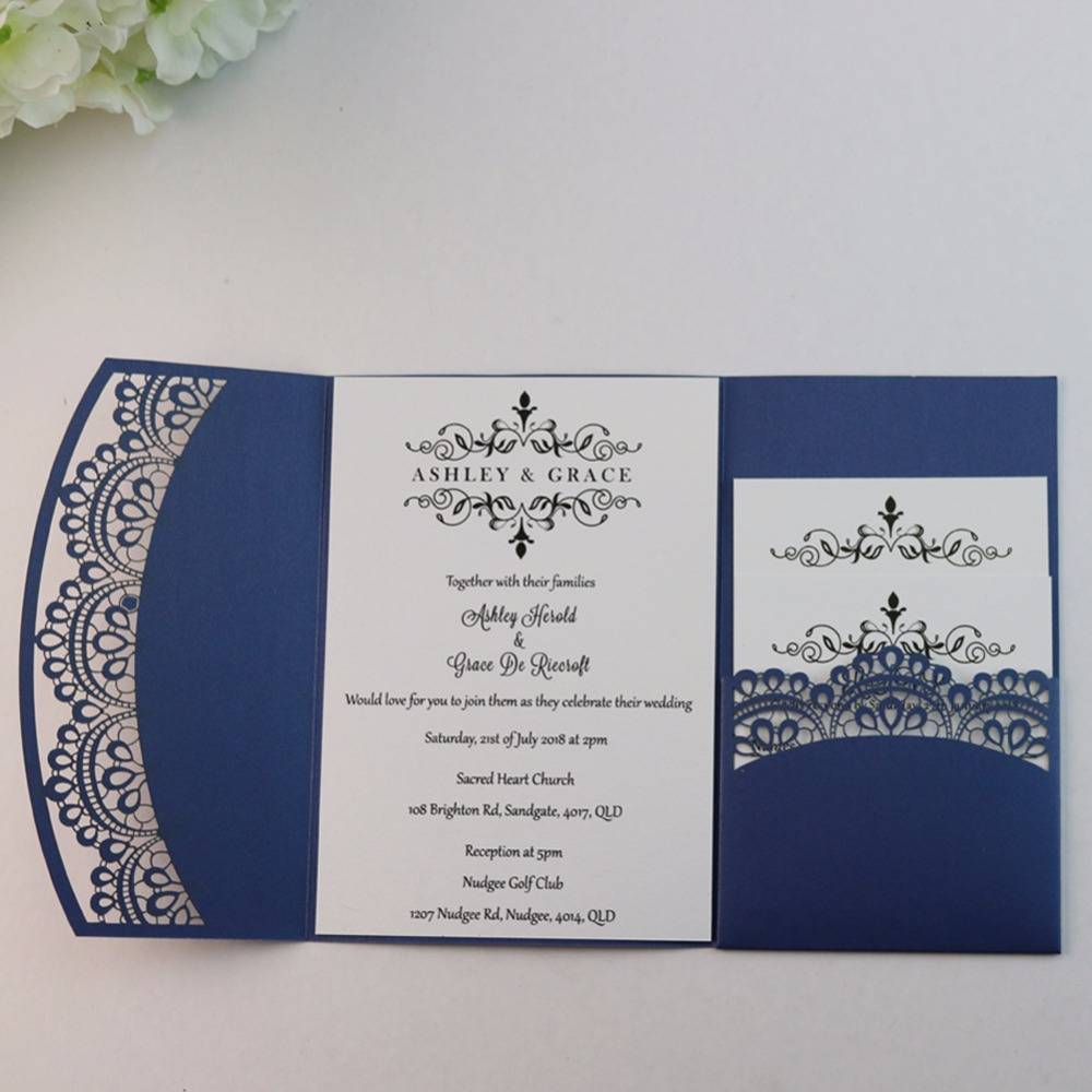50pcs Personalized DIY Lace POCKET FOLD WEDDING INVITATION CARDS ...