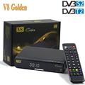 V8 Ouro Tv Por Satélite Receptor HD DVB-T2 DVB-S2 Full 1080 P Apoio Apoio Receptor Usb Wi-fi Cccam IPTV Ccam 3G Dongle Chave Biss