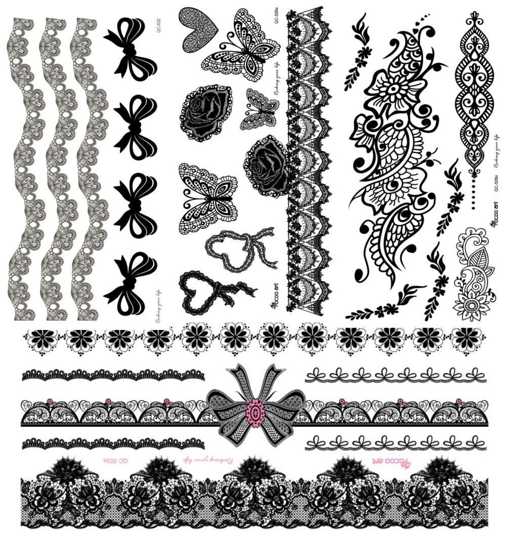 4 teilelos schwarz henna spitze tattoo aufkleber blume bogen temporäre wasserdichte tattoos aufkleber körper