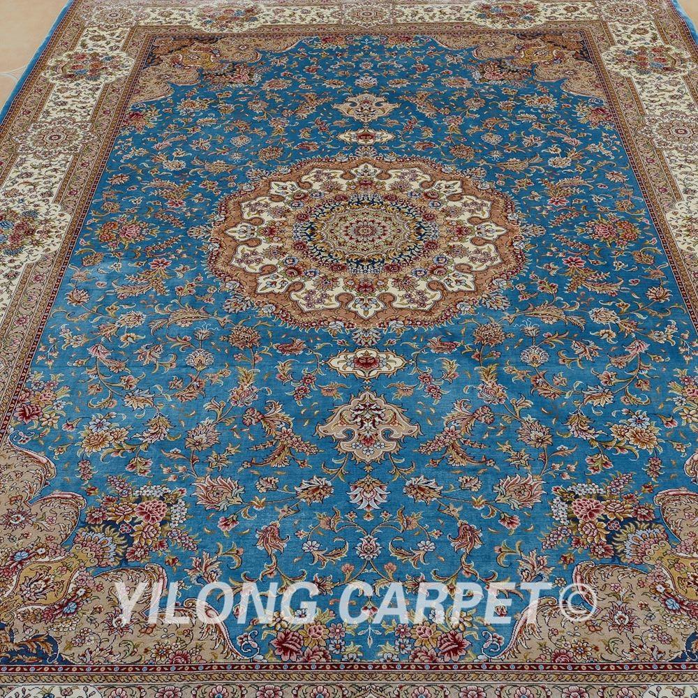 Yilong 6 X9 Kashmir Qum Carpet Vantage Blue Handmade Silk Persian Rugs 0708 In Rug From Home Garden On Aliexpress Alibaba Group