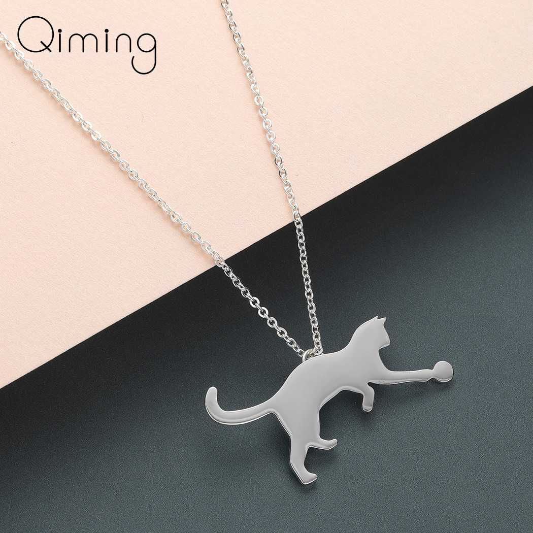Lovely Animal Cat Necklace Silver Gold Cat Play with ball Ethnic Birthday Gift Girls Necklace Stainless Baby Kids Jewelry