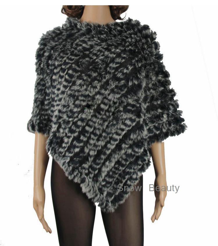 natural real knitted rabbit fur poncho shawl (29)