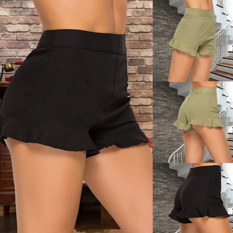 Summer Women Ruffled High Waist Shorts Female Sexy Wide Leg Short Elastic Waist Belt Green /black High Quality