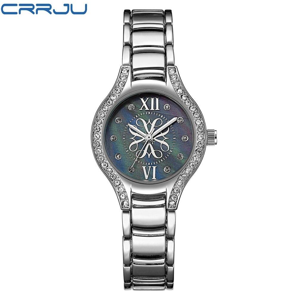 CRRJU luxury Fashion Women's watches quartz watch bracelet wristwatches stainless steel bracelet women watches with Gift Box