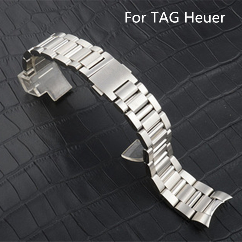 TJP Original 22MM Men Full Stainless Steel Watch Strap Wacthband For TAG Watch Heuer CARRERA WAR201D.BA0723 wristband 14mm 16mm 17mm 18mm 19mm 20mm 21mm 22mm 23mm 24mm silver black full stainless steel watch strap wacthband for rarone with logo