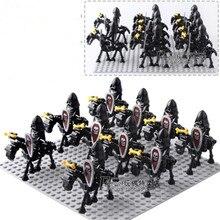 42 pçs/lote cavaleiros esqueleto castelo medieval cavaleiros esqueleto construção tijolos blocos brinquedos crianças presentes
