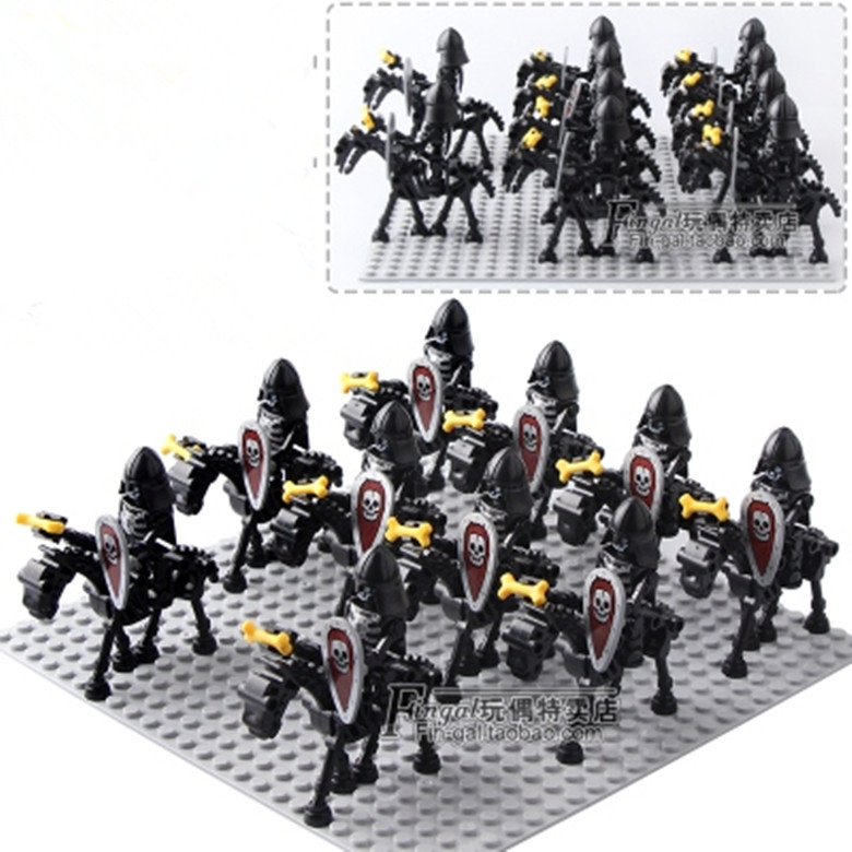 42PCS/LOT Skeleton Knights Medieval Castle Knights Skeleton Knights Building Bricks Blocks Toys Children GiftsBlocks   -