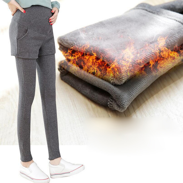New Fashion Winter Maternity Leggings Pants Clothes For Pregnant Women Warm High Waist Elasticity Slim Pregnancy Trousers XL71