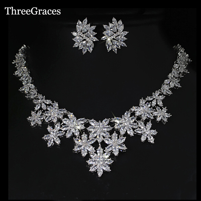 ThreeGraces Luxury White Gold Color Marquise Shape CZ Crystal Big Flower Necklace And Earrings Bridal Wedding Jewelry Sets JS055