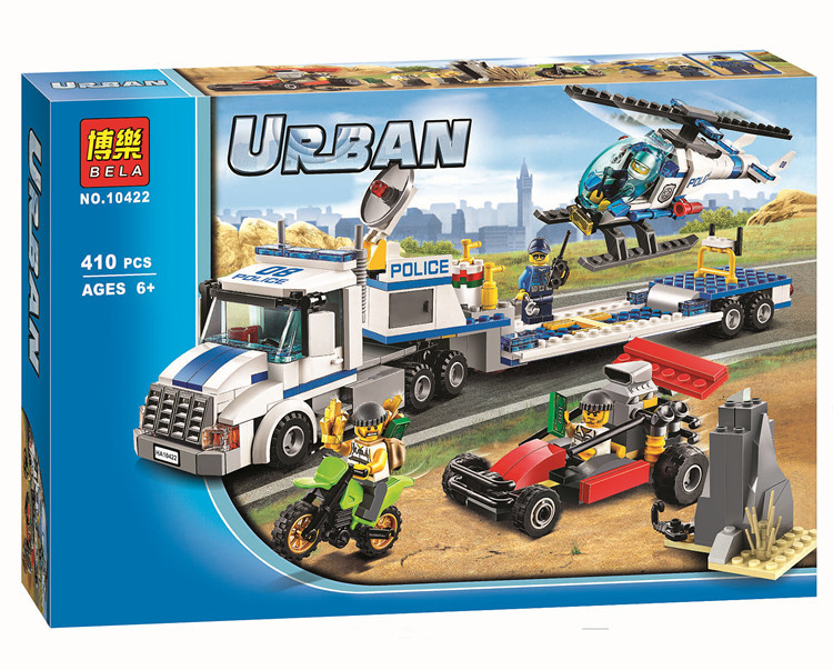 Lepin Pogo Bela CITY Helicopter Transporter Assembled Urban Police City Building Blocks Bricks Compatible Legoe Toys compatible lepin city block police dog unit 60045 building bricks bela 10419 policeman toys for children 011