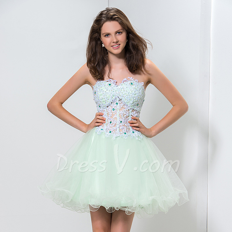Lovely Puffy Short Cocktail Dresses 2015 Mint Green See Through